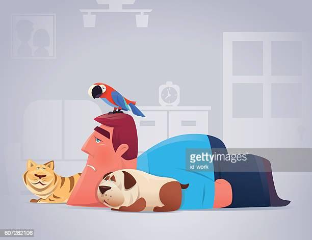 sad man with pets