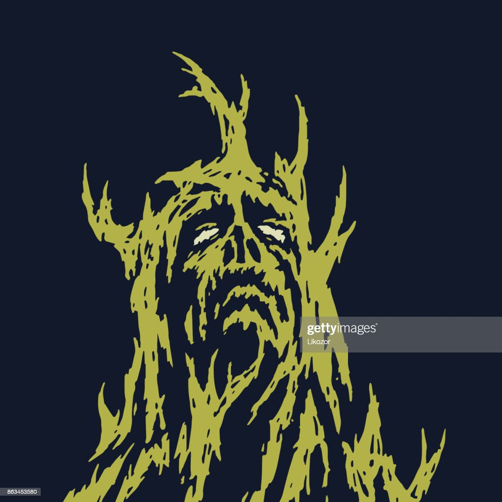 A sad monster with branches growing out of his body. Vector illustration.