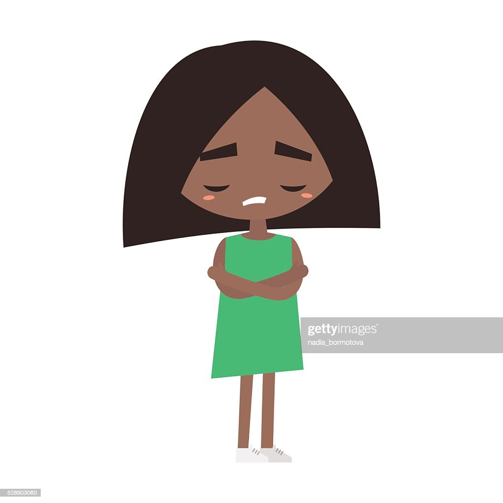 Sad offended black girl cartoon illustration