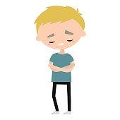 Sad offended boy cartoon illustration