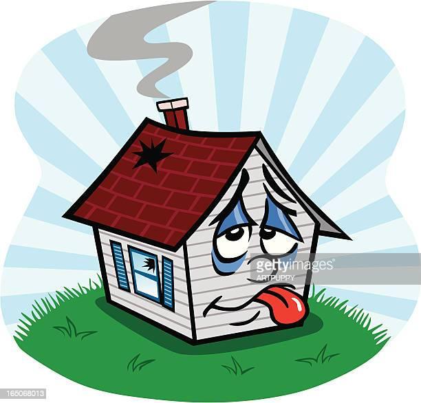 sad old house - sick stock illustrations, clip art, cartoons, & icons