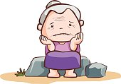 sad old lady sit on the stone vector