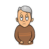 Sad old man. Unhappy grandfather. Flat vector illustration. Isolated on white background.
