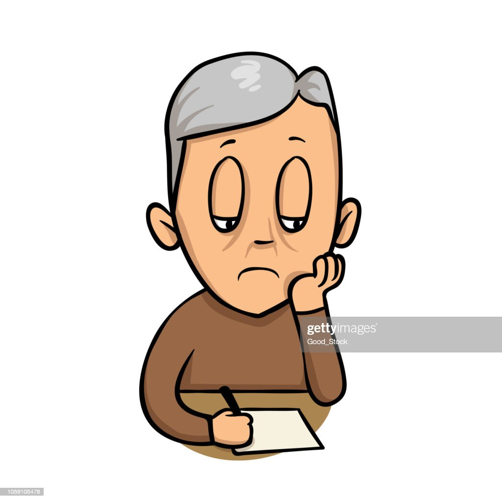 Sad old man writing a note. Flat vector illustration. Isolated on white background.