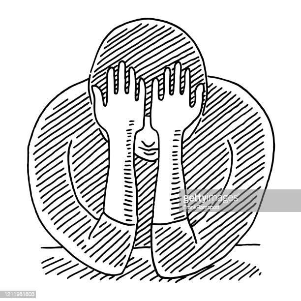 sad person depression concept drawing - sadness stock illustrations