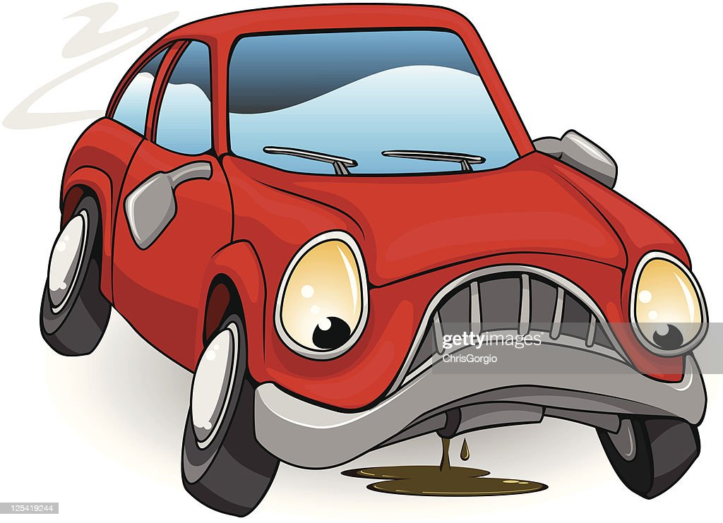 A sad personified red cartoon car