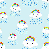 Sad rainbow emotion with clouds seamless pattern background icon. Business flat vector illustration. Rainbow sign symbol pattern.