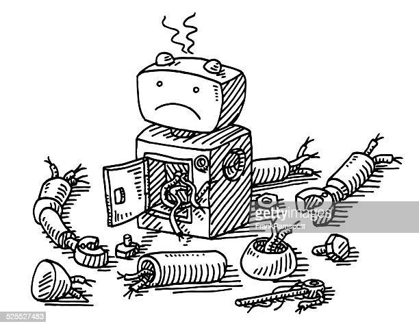 Sad Robot Demolition Drawing