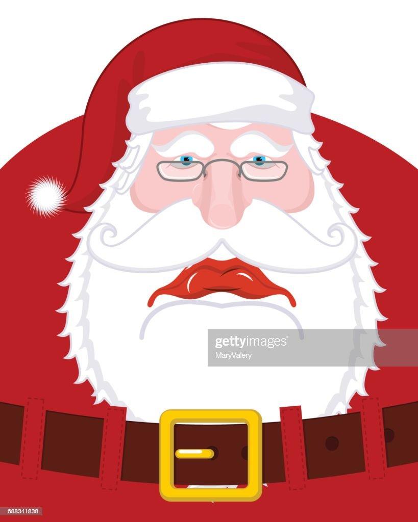 Sad Santa Claus And Belt Dull Christmas Grandfather Sorrowful