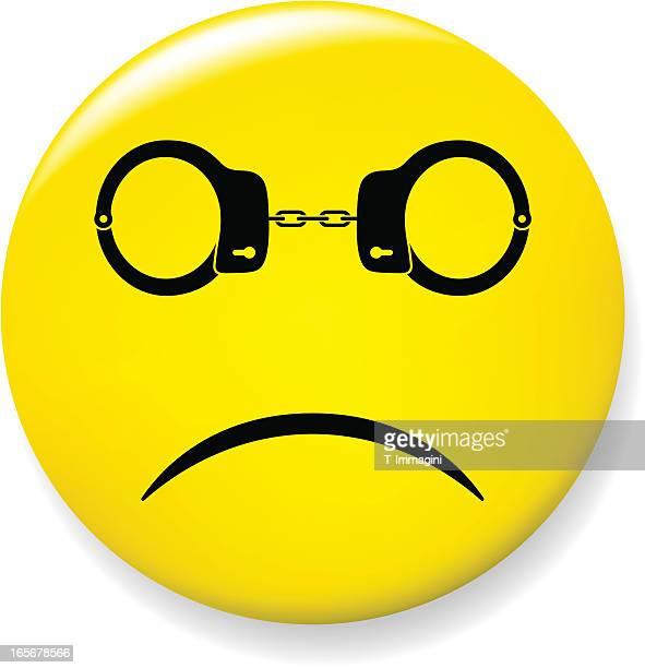 Sad smile pin with handcuffs glasses