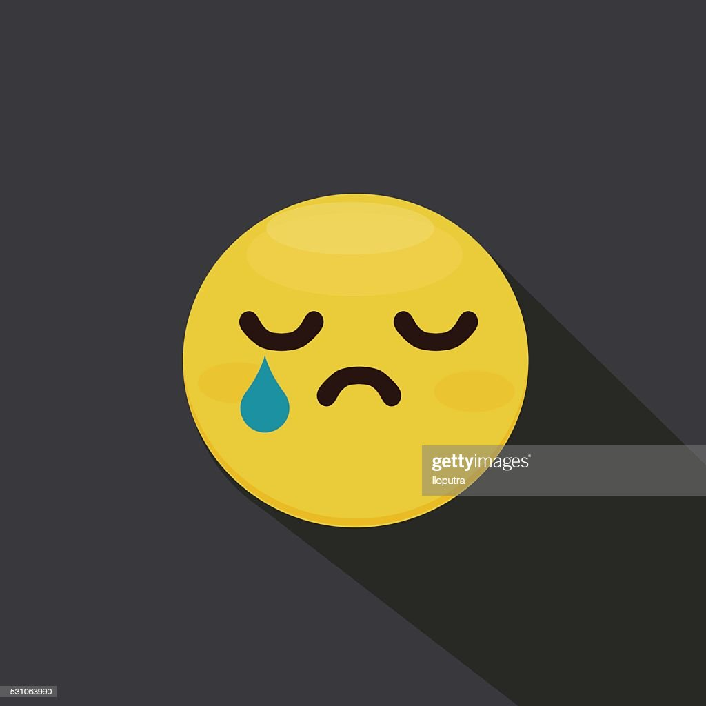 Sad smiley emoticon. Flat Vector