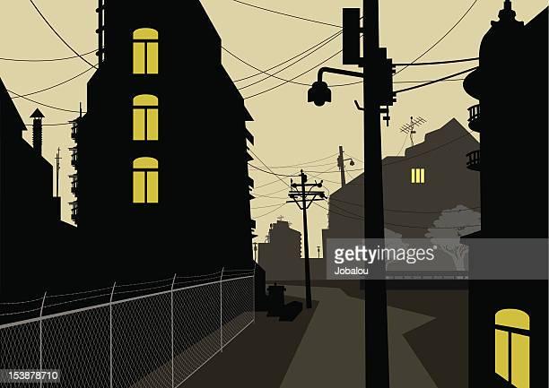 sad street - remote location stock illustrations