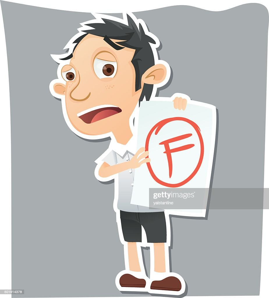 sad student showing paper with F grade