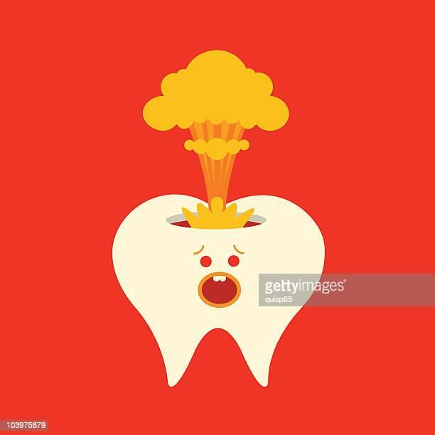ilustraciones, imágenes clip art, dibujos animados e iconos de stock de triste dientes carácter - dolordemuelas