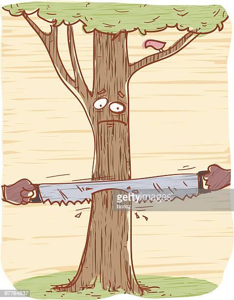 ilustrações de stock, clip art, desenhos animados e ícones de triste árvore - desmatamento