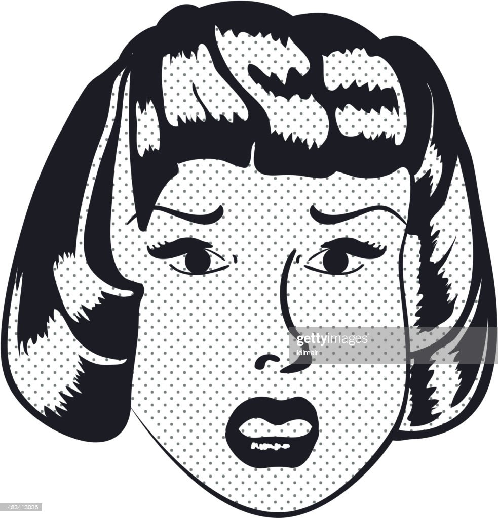 Sad Woman face with open mouth. Vector
