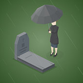 Sad woman grieving in a cemetery. Woman standing at the gravestone of her family member or beloved.