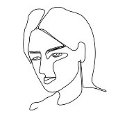 Sad Woman One Line Art Portrait. Female Sadness Facial Expression. Hand Drawn Linear Woman Silhouette. Vector illustration