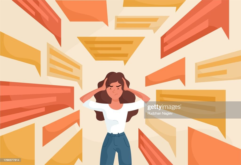 Sad young woman covering ears : stock illustration