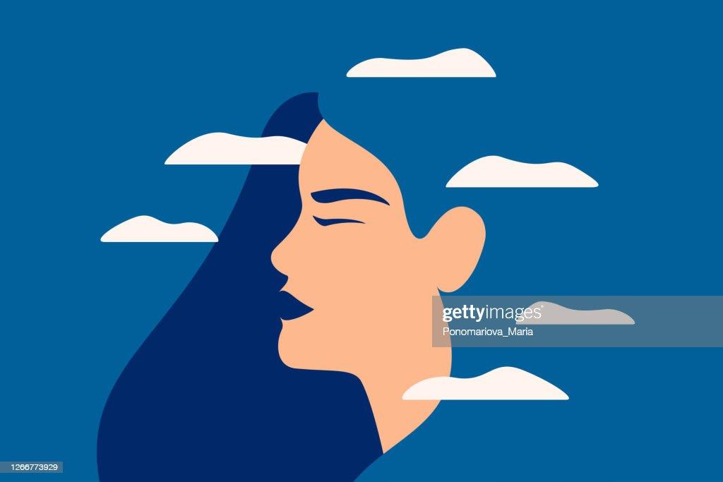 Een droevige jonge vrouw heeft een vertroebigde mening op blauwe achtergrond. : Stockillustraties