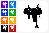 Saddle Icon Square Button Set