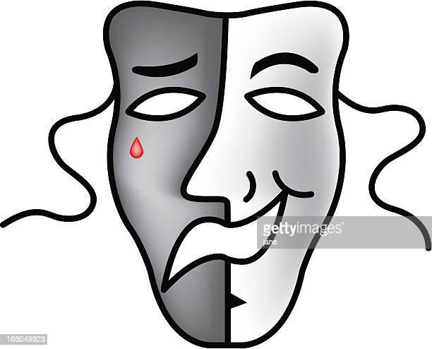 悲しい/ハッピーなマスク - 悲劇の面点のイラスト素材/クリップアート素材/マンガ素材/アイコン素材
