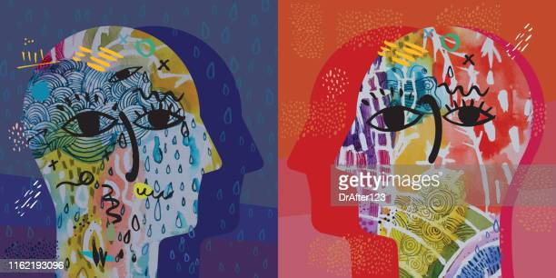 sadness vs happiness - painted image stock illustrations