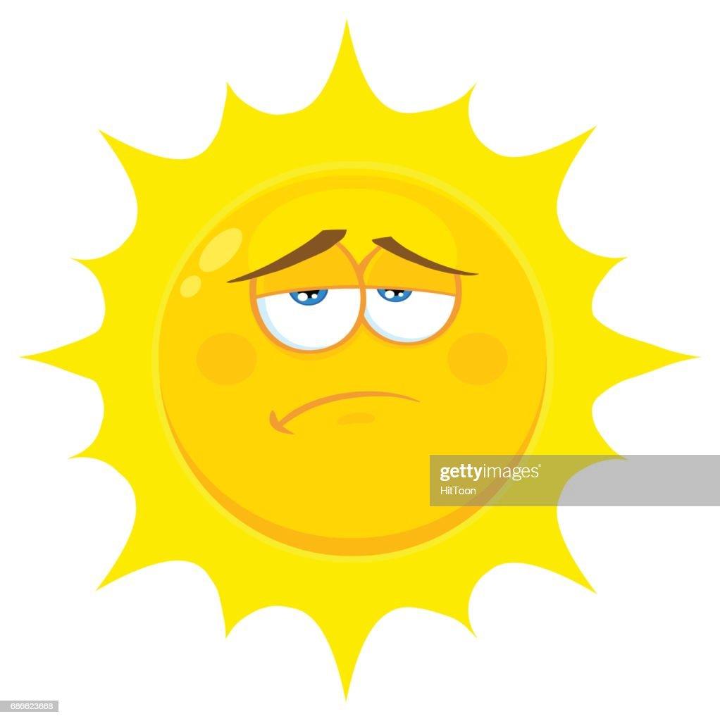 Sadness Yellow Sun Cartoon Emoji Face Character With Expression