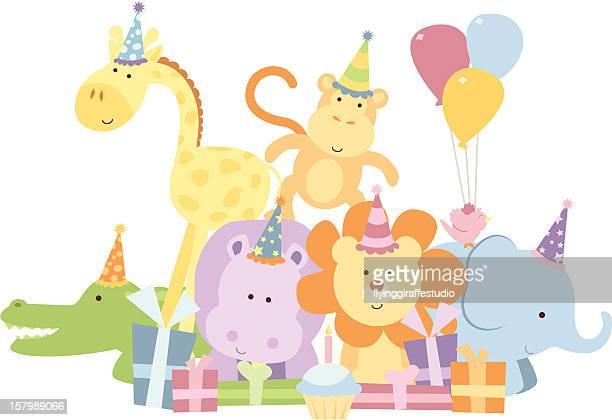 サファリ動物の誕生日パーティグループ