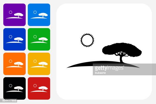 illustrations, cliparts, dessins animés et icônes de jeu de bouton safari icône carré - afrique paysage