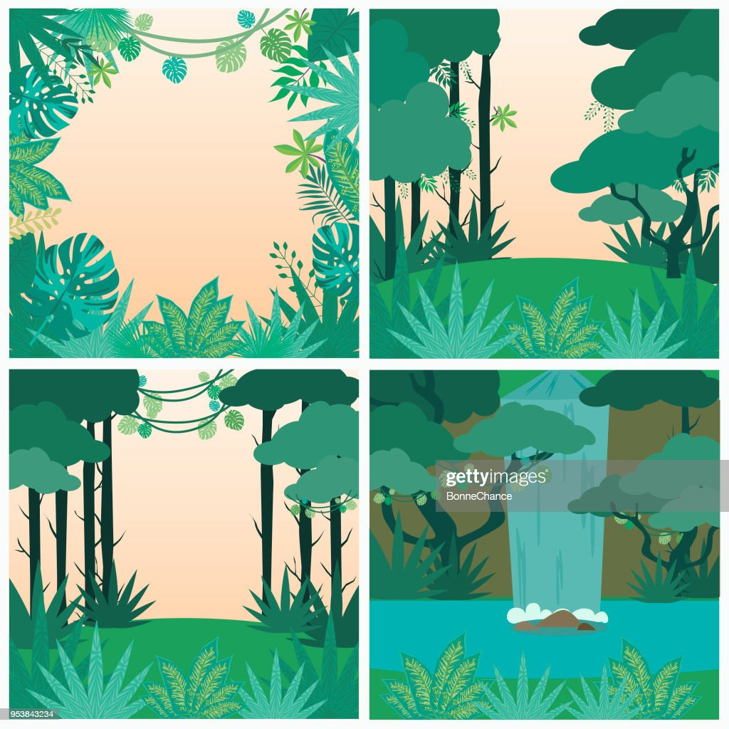 Safari party poster with wild plants and palm leaf. Jungle background