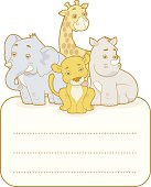 Safari sticker with group of animals
