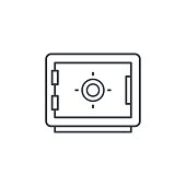 safe, banking, money security, cash protection thin line icon. Linear vector symbol