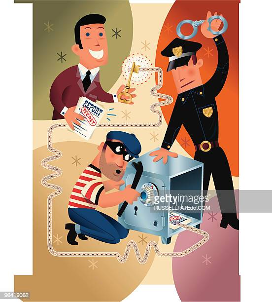 safe breaker - arrest stock illustrations, clip art, cartoons, & icons