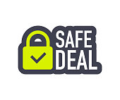 Safe deal icon. Partnership vector icon with handshake. Vector illustration.