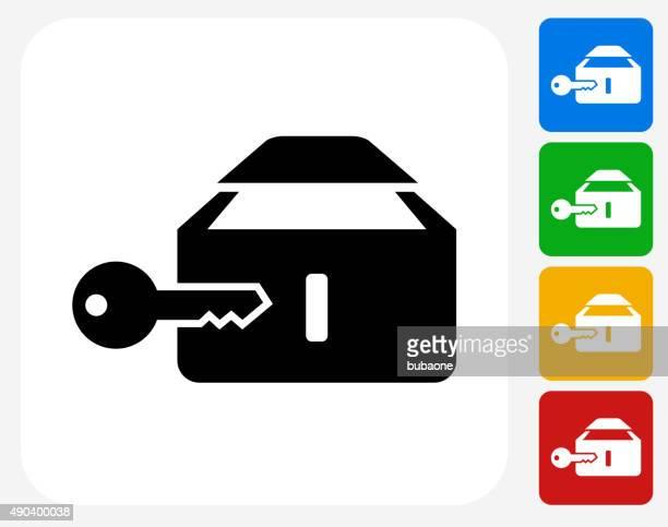 Safe Deposit Box Icon Flat Graphic Design