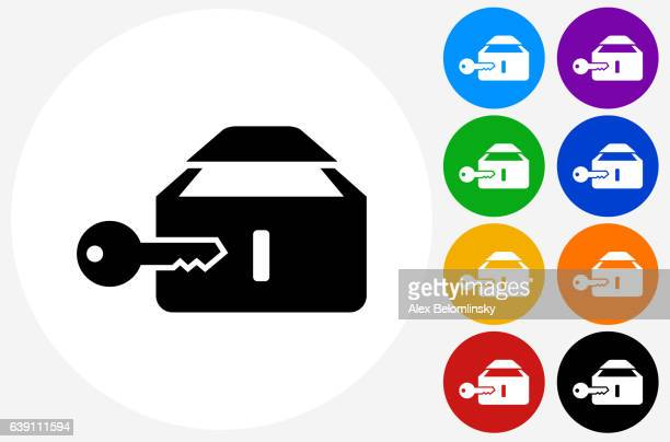Safe Deposit Box Icon on Flat Color Circle Buttons