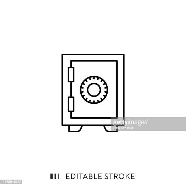 編集可能なストロークとピクセルパーフェクトとセーフティボックスアイコン。 - 開錠点のイラスト素材/クリップアート素材/マンガ素材/アイコン素材