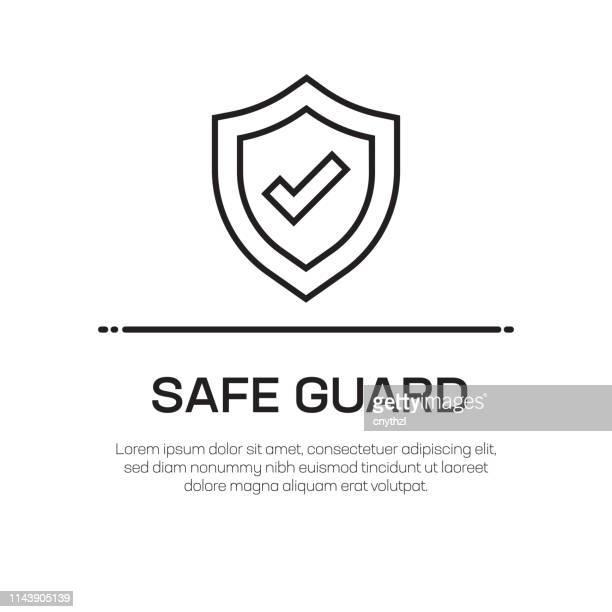 安全ガードベクトルラインアイコン-シンプルな細線アイコン、プレミアム品質のデザイン要素 - デイフェンス点のイラスト素材/クリップアート素材/マンガ素材/アイコン素材