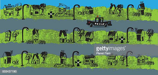 safe neighborhood - private property stock illustrations