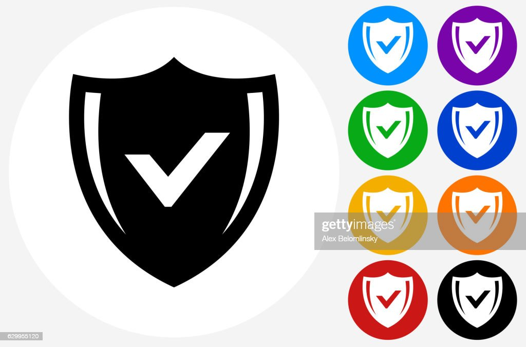 Safe Shield Icon on Flat Color Circle Buttons