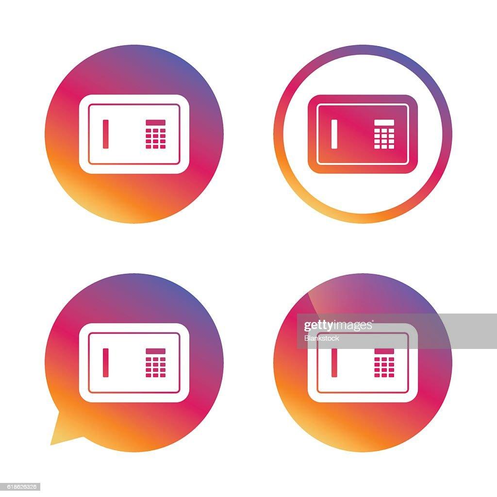 Safe sign icon. Deposit lock symbol.