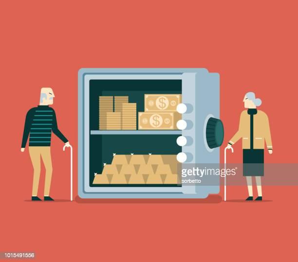 Veilige opslag van geld - Senior paar