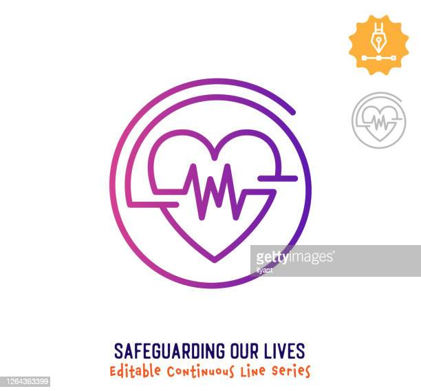 stockillustraties, clipart, cartoons en iconen met pictogram voor het beveiligen van ons leven continu lijn bewerkbare lijn - oscilloscoop