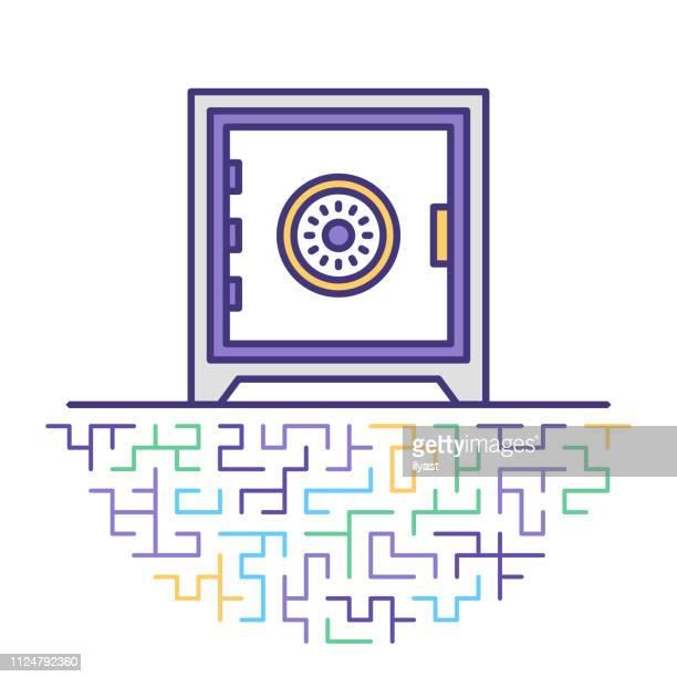 Safety Deposit Box Flat Line Icon Illustration