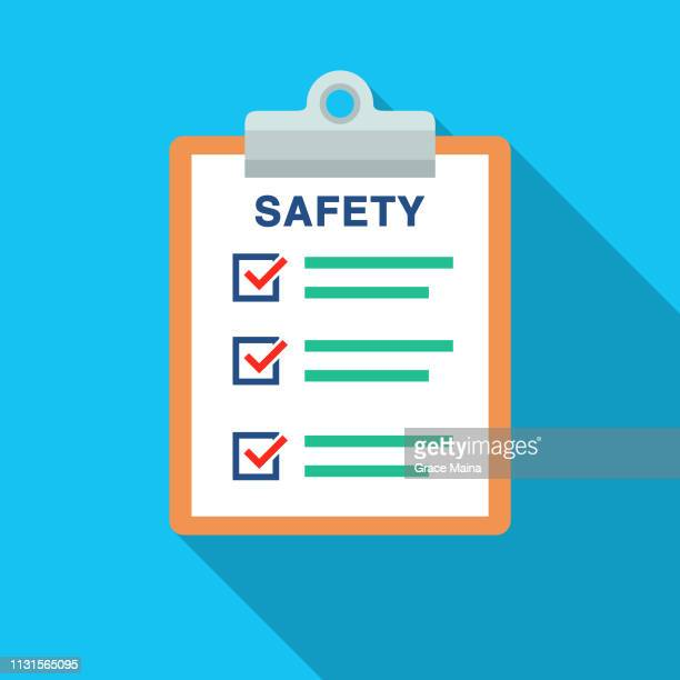 safety document list with check marks and clipboard - safety stock illustrations