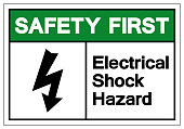 Safety First Electrical Shock Hazard Symbol Sign, Vector Illustration, Isolate On White Background Label .EPS10