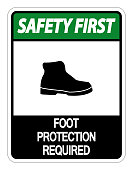 Safety first Foot Protection Required Sign on white background