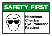 Safety First Hazardous Chemical Eye Protection Required Symbol Sign ,Vector Illustration, Isolate On White Background Label. EPS10