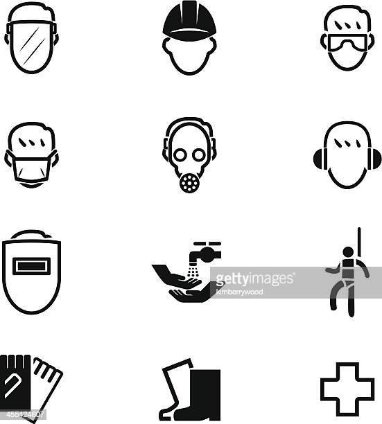 ilustrações, clipart, desenhos animados e ícones de segurança primeiro conjunto de ícones - vestuário de proteção
